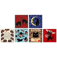 Vintage Black Cats Square Matchbox