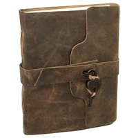 Leather Journal With Belt & Heart Lock