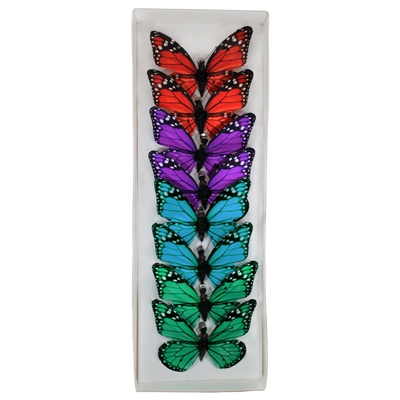 Rainbow Monarch Paper Butterfly Clips