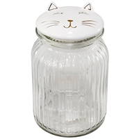 Smiley Cat Glass Jar
