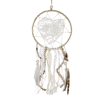 Mini Dream Catcher Crochet Heart Feathers/Beads