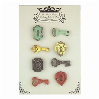 Vintage Lock & Key Magnet Set