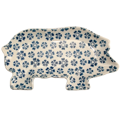 Blue Daisy Pig Ceramic Tray