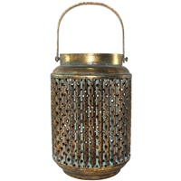 Arjana Lantern Burnished Gold with Sage