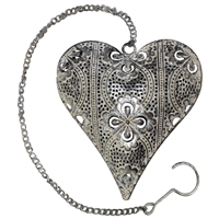 Nika Metal Heart Decor Antq Slver/Ecru