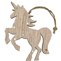Unicorn Ornament Rearing Wood