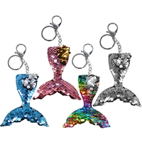 Sequin Mermaid Tail Key Chain & Clip