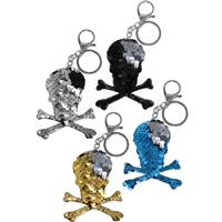 Sequin Skull Key Chain & Clip
