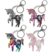 Sequin Unicorn Key Chain & Clip