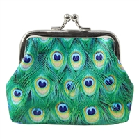 Peacock Eye Feathers Coin Purse
