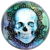 Blue Ivy Skull Glass Dome Paperweight