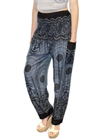 Zelda Pants Black on Gray Medallions