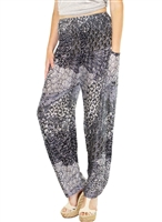 Zelda Pants Black, White & Blue Floral