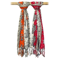 Elephant Parade Multi-color Fringed Scarf