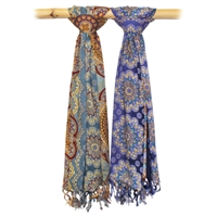 Royal Mandala Fringed Scarf Blue/Multicolor Asst