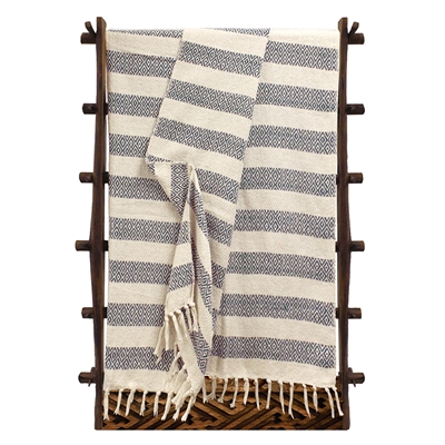 Navy Diamond Stripes Cotton Throw