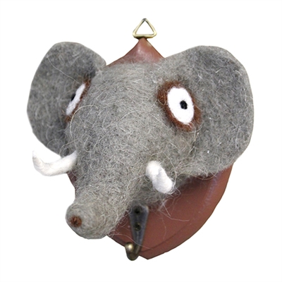 Ernest Elephant Felted Wall Mount