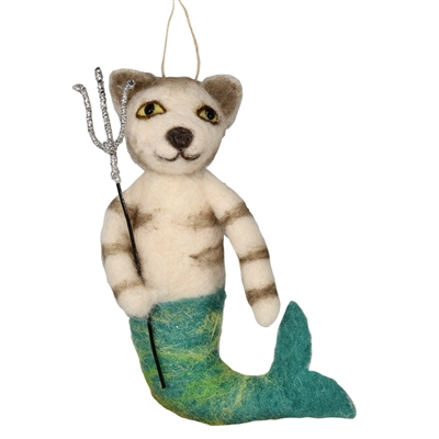 Triton Cat Mermaid Hanging Felted Woolie