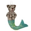 Tiger Cat Mermaid Hanging Felted Woolie