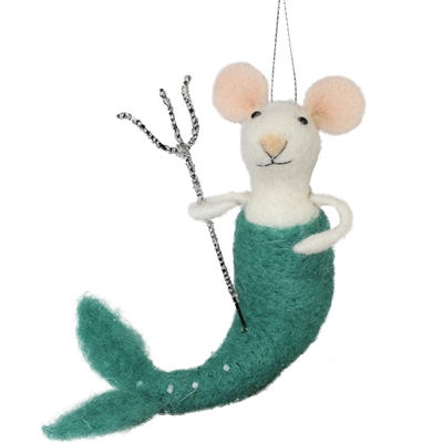 Triton Mouse Mermaid Hanging Felted Woolie