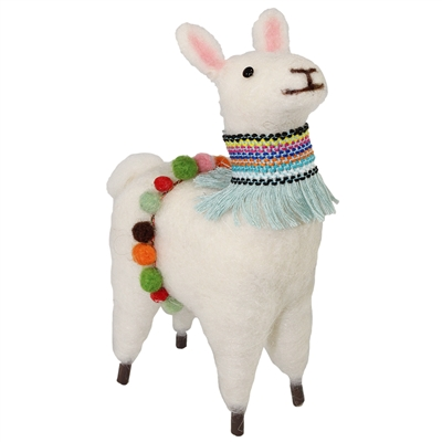 Festival Llama Standing Felted Woolie