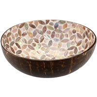 Coconut Bowl Mother of Pearl Hearts Inlay