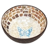 Aqua Butterfly Mosaic Inlay Coconut Shell Bowl