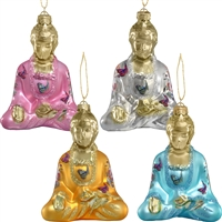 Buddha with Butterfly Glass Ornament