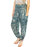 Jeannie Pants Teal Ecru Elephants