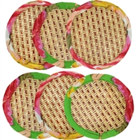 Natural Sedge and Fabric Woven Coasters