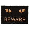 Beware Cat Black Door Mat