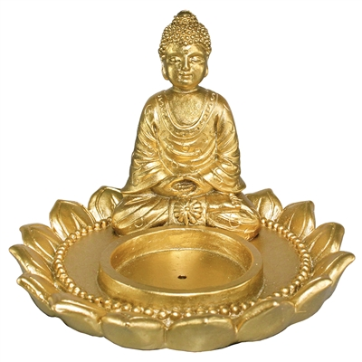 Golden Dhyana Buddha Incense Holder
