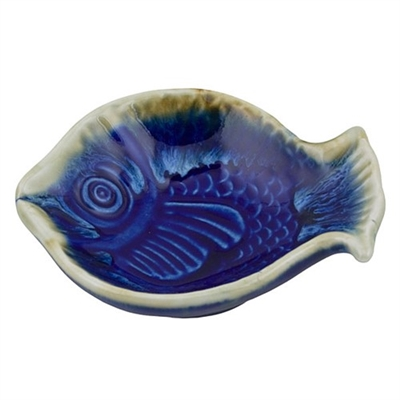 River Fish Tray Stone Blue Ceramic