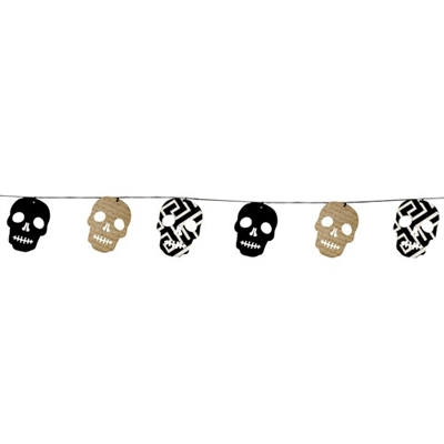 Paper Skull Bunting with Metallic Gold