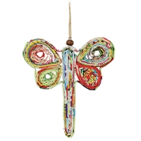 Recycled Magazine Dragonfly Ornament