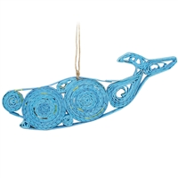 Recycled Magazine Whale Ornament