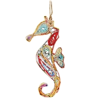 Recycled Magazine Seahorse Ornament