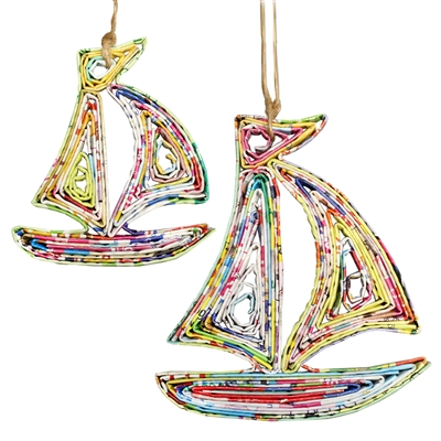 Recycled Magazine Sail Boat Ornament