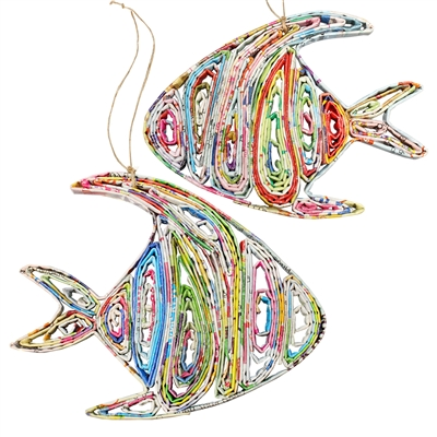 Recycled Magazine Fish Ornaments