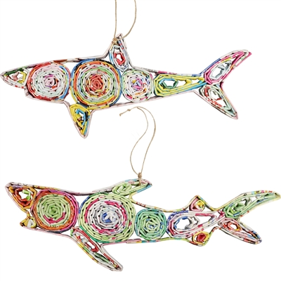 Recycled Magazine Shark Ornament