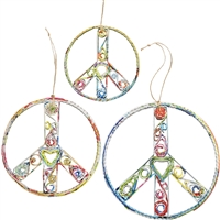 Recycled Magazine Peace Sign Ornament