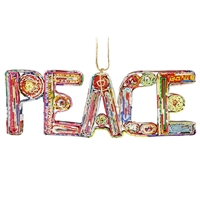Recycled Magazine Peace Word Ornament