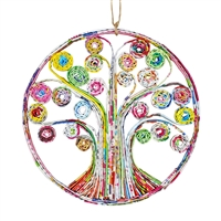Recycled Magazine Tree of Life Ornament
