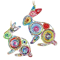 Recycled Magazine Rabbit Ornament
