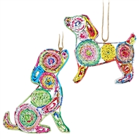 Recycled Magazine Dog Ornament