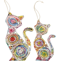 Recycled Magazine Cat Ornament