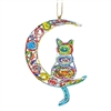 Recycled Magazine Cat & Moon Ornament