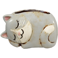 Cat Nap Planter Ceramic Gray