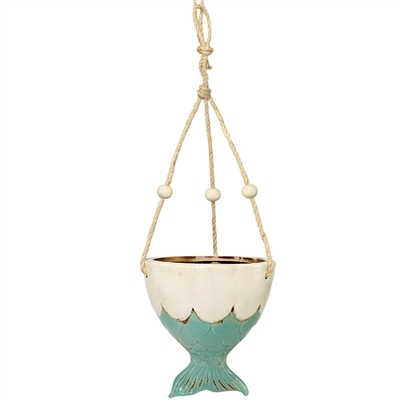 Mermaid Fish Hanging Planter Ceramic