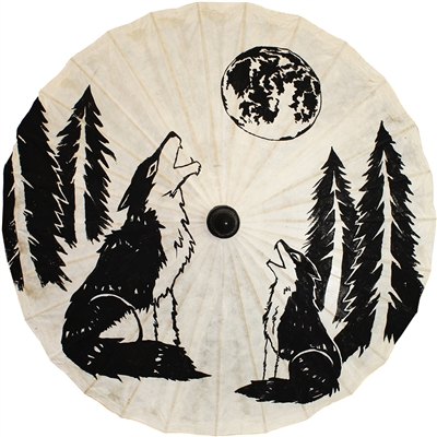 Wolf & Moon Paper Parasol